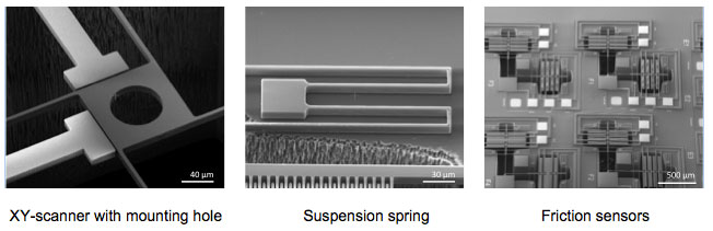 Silicon-on-insulator (SOI) MEMS devices are made from two sandwiched layers: scanner, suspension spring and friction sensor