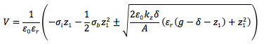 Capacitive RF MEMS switch theory with shift due to charging equation 2