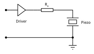 A resistance in series with a hard voltage source piezo driver keeps the resonant piezo amplitude low